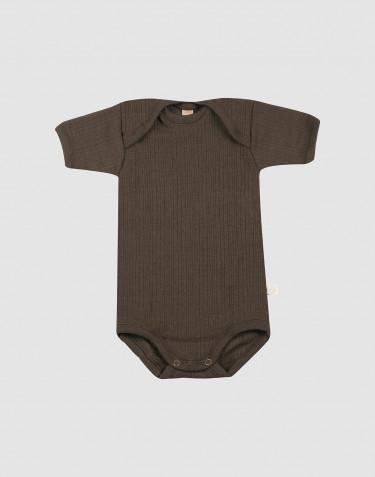Baby rib wool short sleeve bodysuit- Dark Chocolate