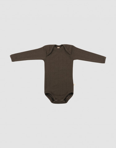 Baby rib knit wool bodysuit- Dark Chocolate