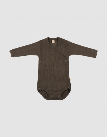 Baby knitted wool wrap bodysuit- Dark Chocolate
