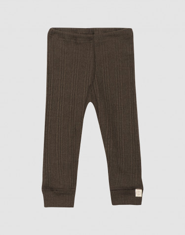Baby ribbed wool leggings- Dark Chocolate