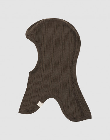 Baby rib knit merino wool balaclava- Dark Chocolate