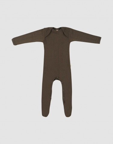 Baby full-length merino wool bodysuit- Dark Chocolate