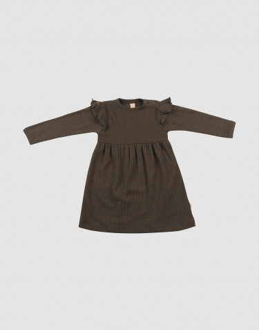 Baby ribbed wool dress with ruffles- Dark Chocolate