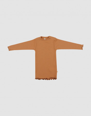 Baby merino wool long sleeve top with frilled edges- Caramel
