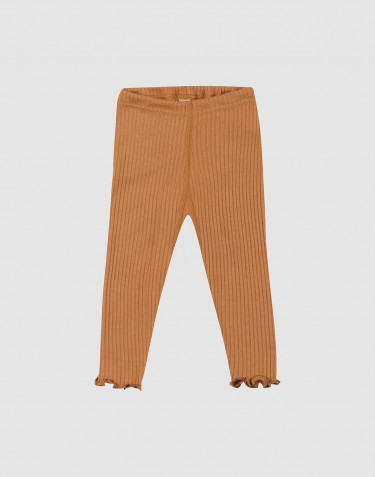 Baby merino wool leggings with frilled edge- Caramel