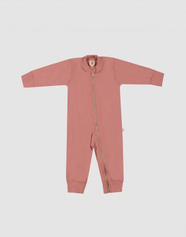 Baby full-length wool terry bodysuit- Dark Pink