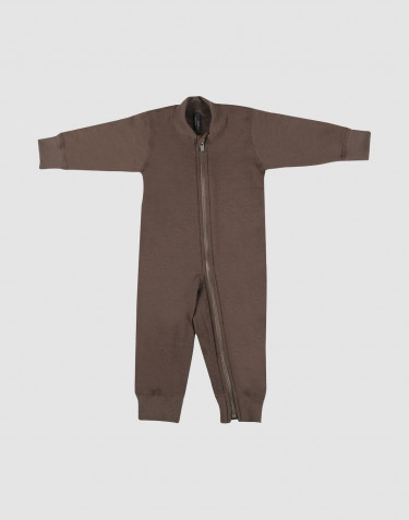 Baby wool terry zip sleepsuit- fudge