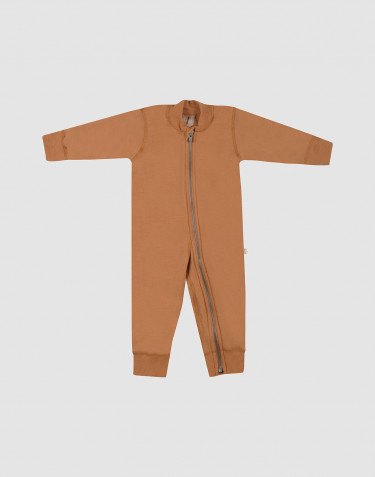 Baby full-length wool terry bodysuit- Caramel