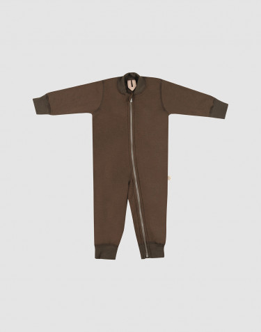 Baby full-length wool terry bodysuit- Dark Chocolate