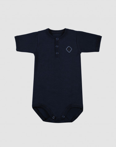 Baby short sleeve organic cotton bodysuit- navy