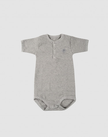 Baby short sleeve organic cotton bodysuit- grey stripe
