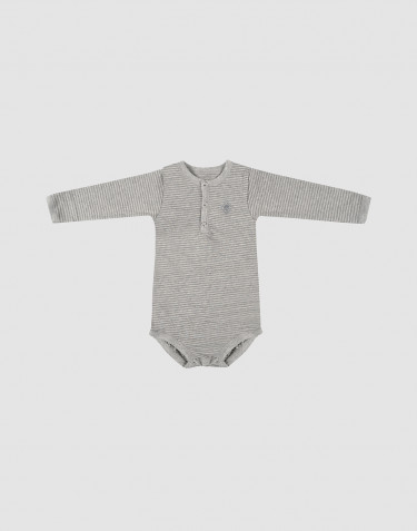 Baby long sleeve organic cotton bodysuit- grey stripe