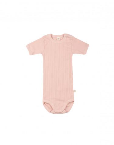 Short sleeve organic cotton bodysuit- rose