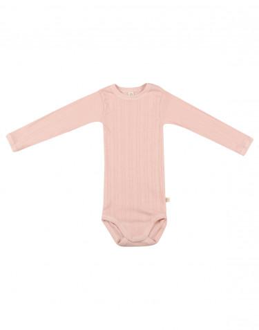 Baby long sleeve organic cotton bodysuit- rose