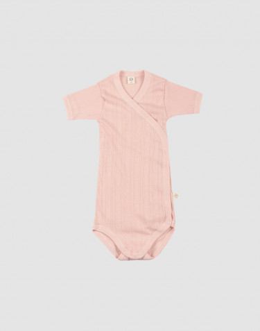 Baby organic cotton wrap bodysuit - rose
