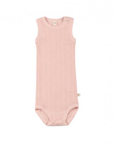 Baby sleeveless organic cotton bodysuit- rose