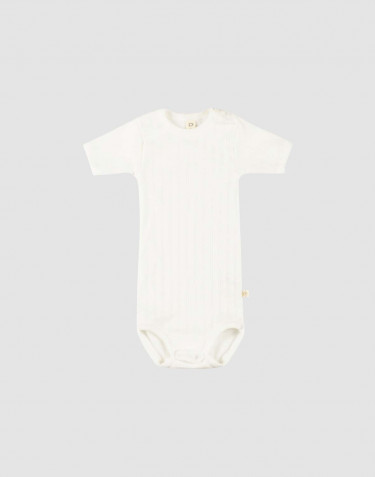 Baby short sleeve organic cotton bodysuit- white