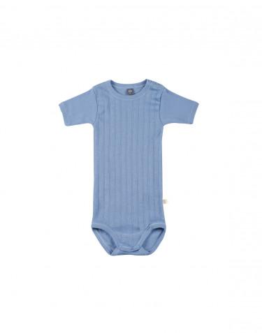 Baby short sleeve organic cotton bodysuit- blue