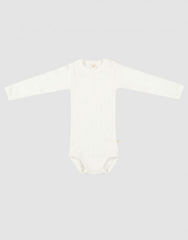 Baby long sleeve organic cotton bodysuit- white