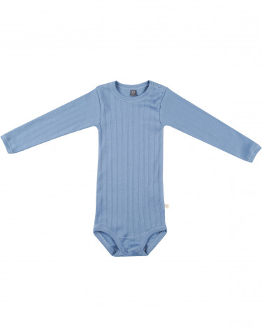 Baby long sleeve organic cotton bodysuit- blue
