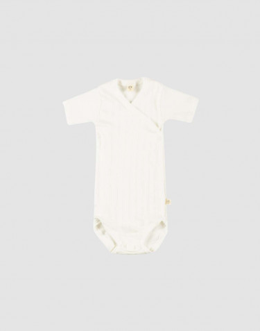 Baby organic cotton wrap bodysuit- white