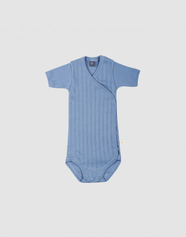 Baby organic cotton wrap bodysuit- blue
