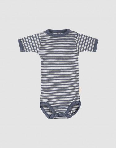 Baby organic wool/silk short sleeve bodysuit- Mottled Blue/ Nature