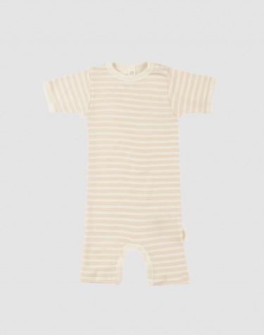 Baby organic wool/silk summer bodysuit- Beige/Nature