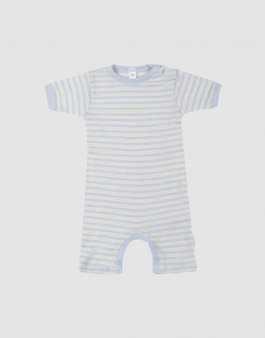 Baby wool/silk summer bodysuit- blue/nature