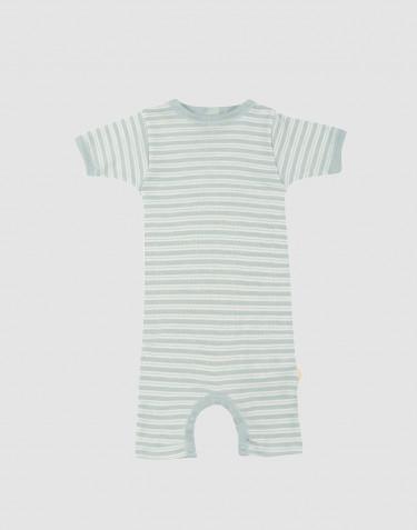 Baby organic wool/silk summer bodysuit- Pastel Green/ Nature