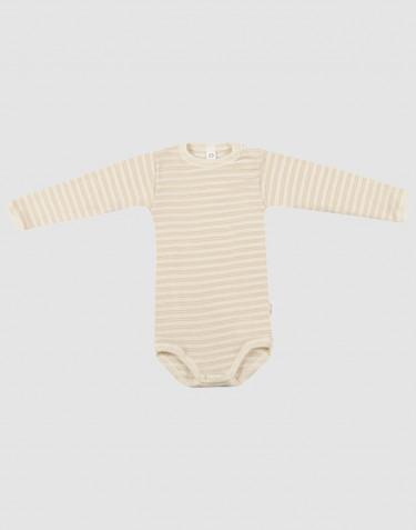 Baby long sleeve wool/silk bodysuit- beige/nature