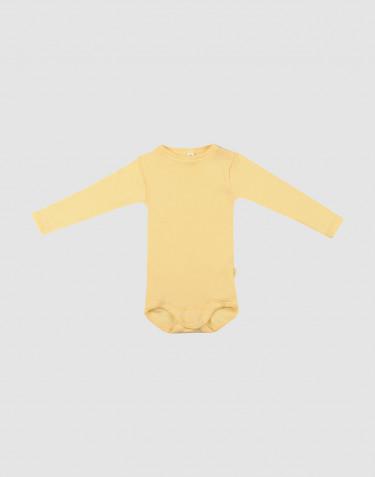 Baby Organic Wool/ Silk Long Sleeve Bodysuit- Light Yellow