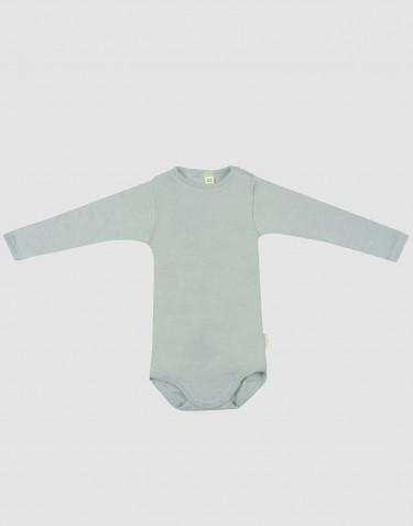 Baby organic wool/silk long sleeve bodysuit- Pastel Green