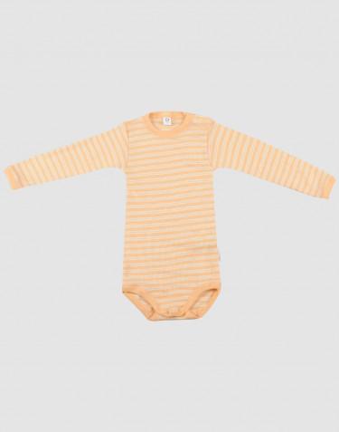 Baby wool/silk long sleeve bodysuit- apricot/nature