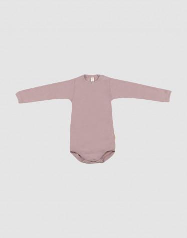 Baby organic wool/silk long sleeve bodysuit- Pastel Pink