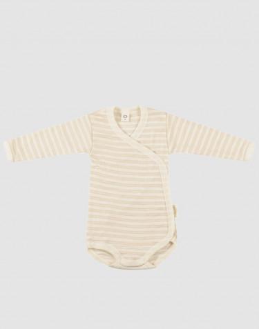 Baby organic wool/silk wrap bodysuit- Beige/Nature
