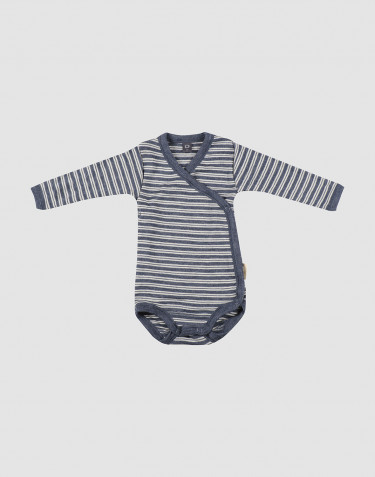 Baby organic wool/silk wrap bodysuit- Mottled Blue/ Nature