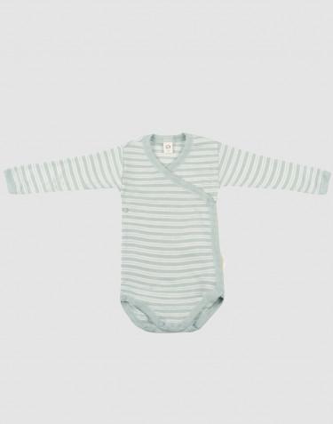 Baby organic wool/silk wrap bodysuit- Pastel Green/ Nature