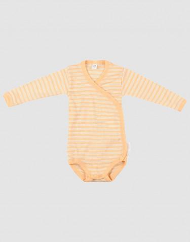 Baby soft wool/silk wrap bodysuit- apricot/nature