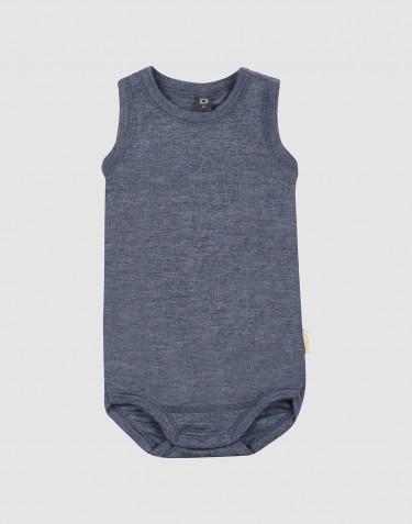 Baby organic wool/silk sleeveless bodysuit- Mottled Blue
