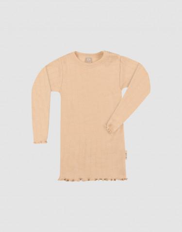 Baby merino wool/silk pointelle long sleeve top
