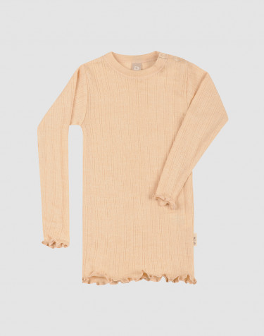 Baby merino wool/silk pointelle long sleeve top with a subtle rib