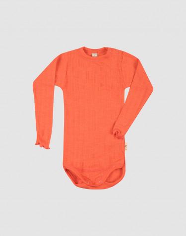 Baby merino wool/silk pointelle long sleeve body