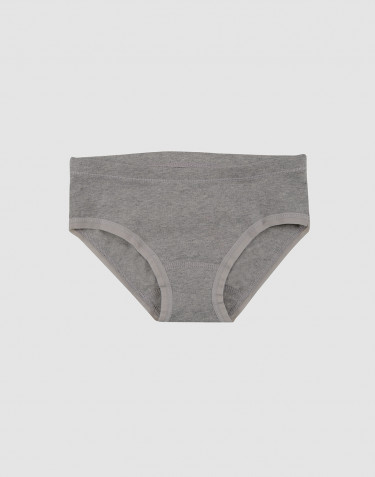 Girls' cotton briefs- grey melange