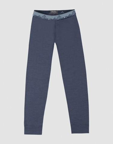 Children's exclusive natural merino wool leggings- Blue Grey