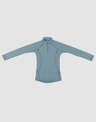 Children's exclusive merino wool zip neck sweater- Mineral blue