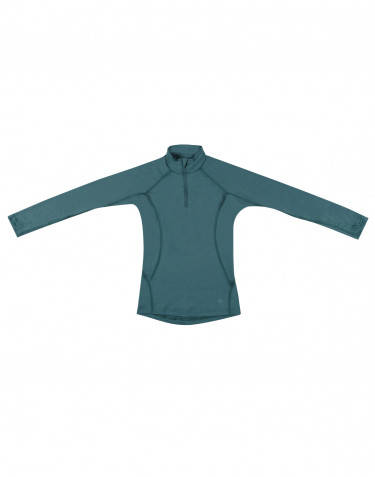 Children's exclusive merino wool zip neck sweater- Hydro green