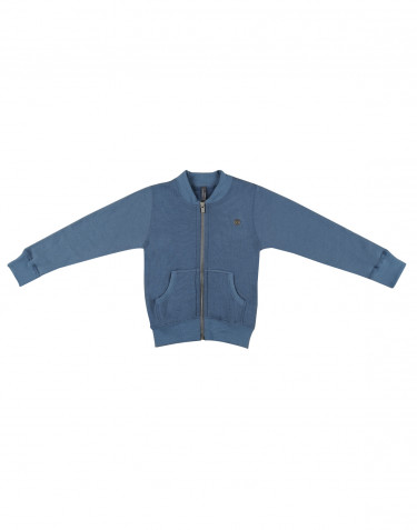 Children's wool terry sweater with zip- china blue