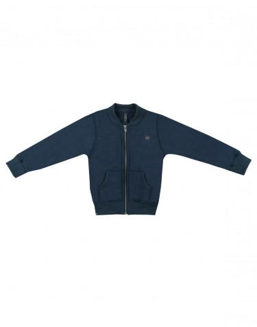 Children's wool terry zip jacket- dark petrol blue