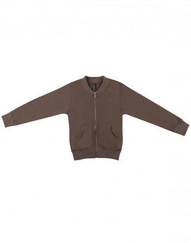Children's wool terry sweater with zip- fudge